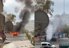 Кола изгоря на спирка пред НАП